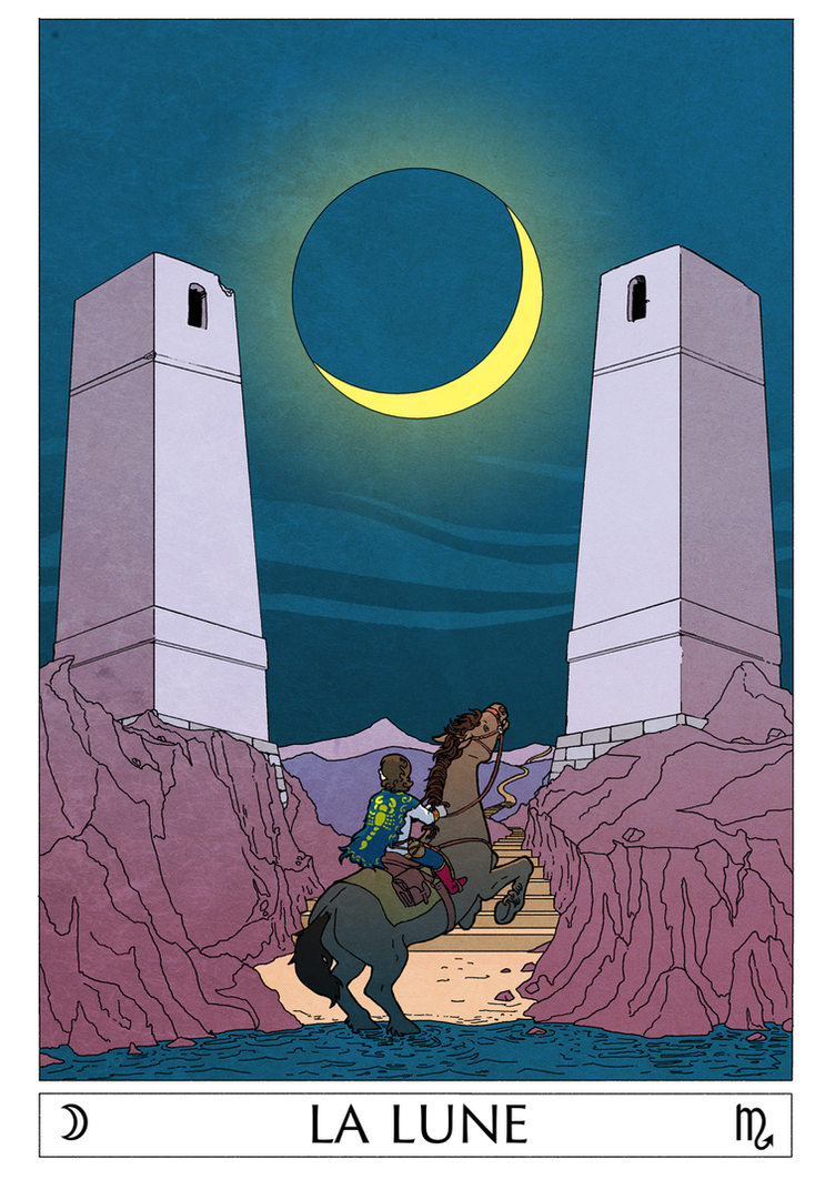 The moon tarot card by spectralunicorn