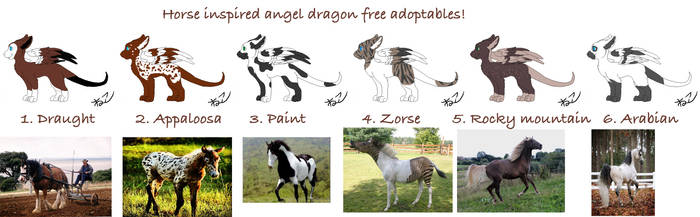Horse Inspired free angel dragon adopts (CLOSED) by SkyeHighSuits
