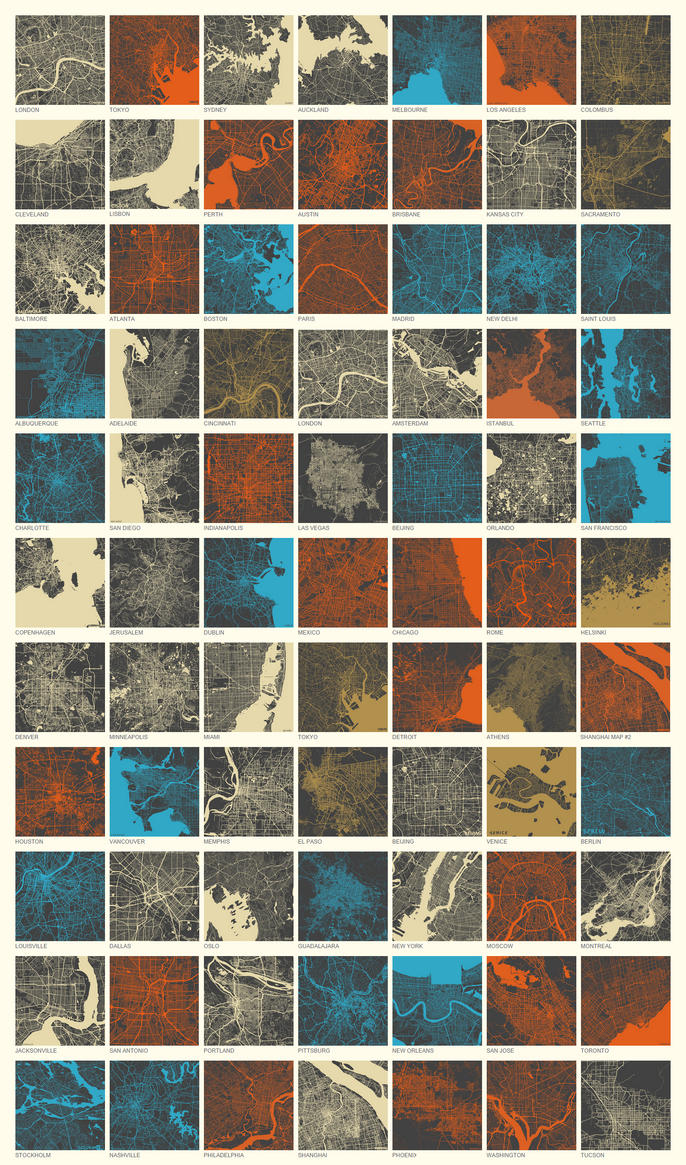 WORLD CITIES MAPS by MapMapMaps