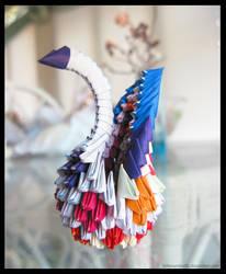 Mini Origami Modular Swan (Diamond Pattern)