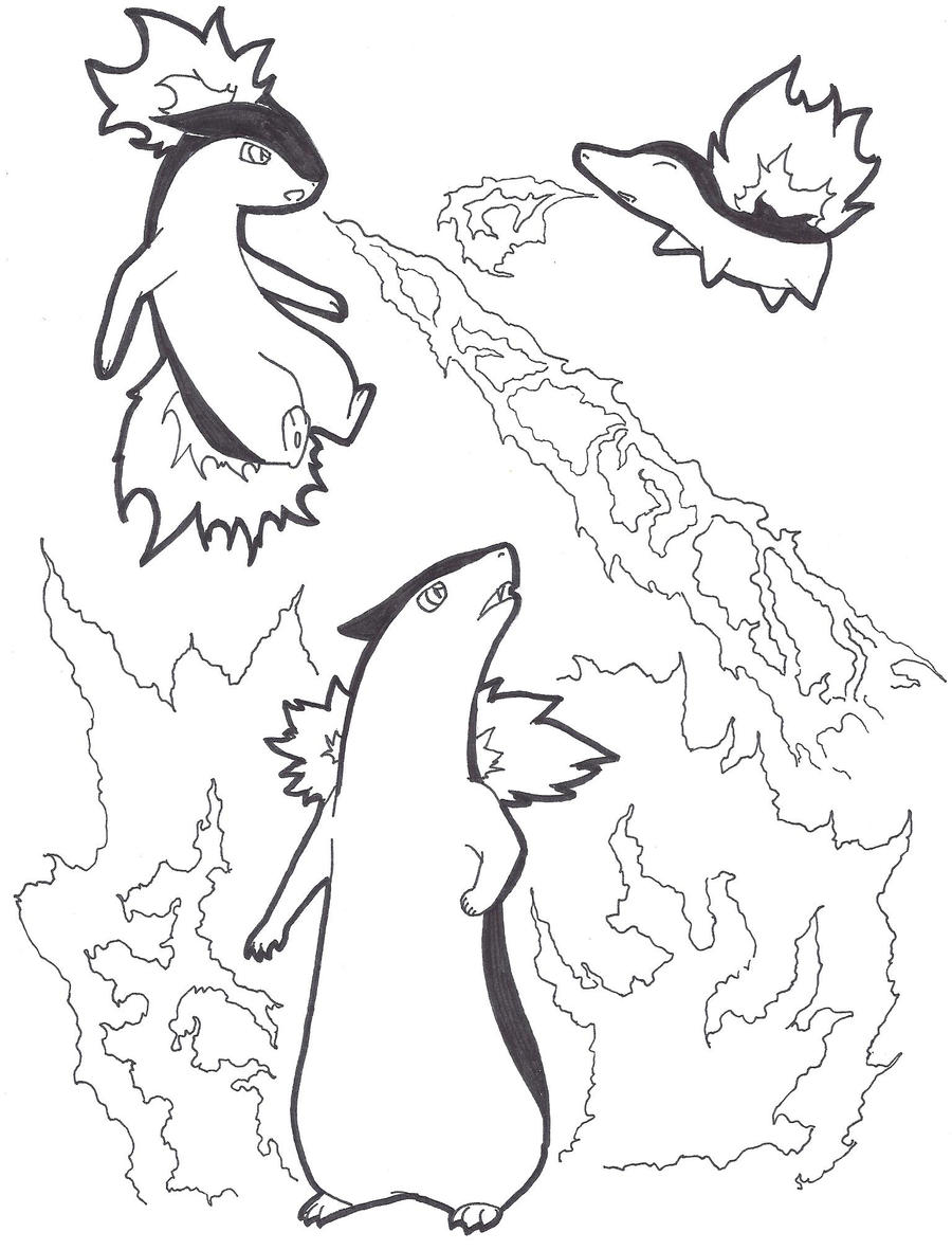 cyndaquil coloring page - cyndaquil evolutions line art by fjabba on deviantart
