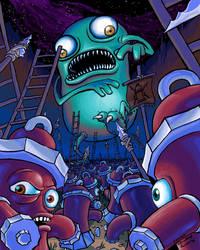 Fire hydrants vs giant monster by FrankieSmileShow