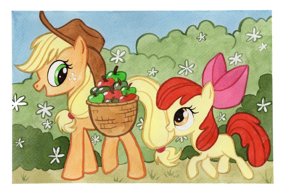 Applejack and Applebloom by Kamirah