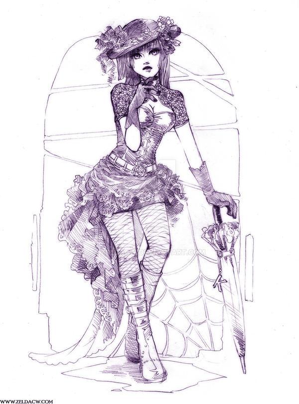 Gothic Fashion Sketch by zeldacw