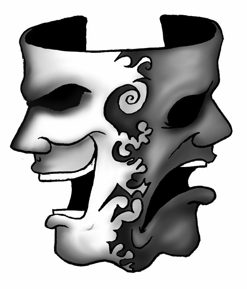 Happy and sad face masks happy and sad face tattoos - Happy Sad Drama Masks Tattoos