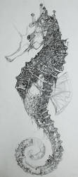 Seahorse City - drawing by neon999