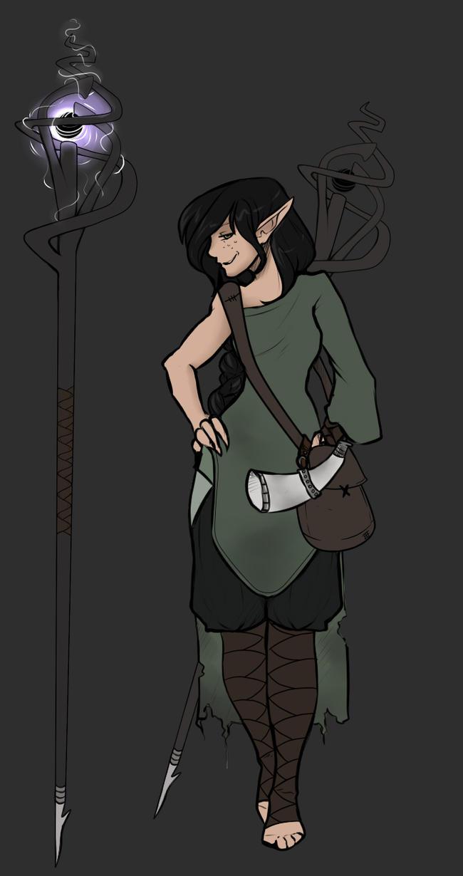 Elf Mage Doodle by justFiyen