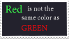 Red and green stamp by SpookyBjorn