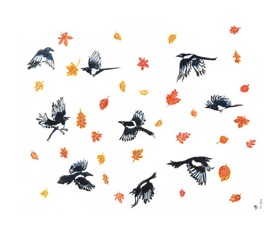 Autumnal Magpies by bonzaialsatian