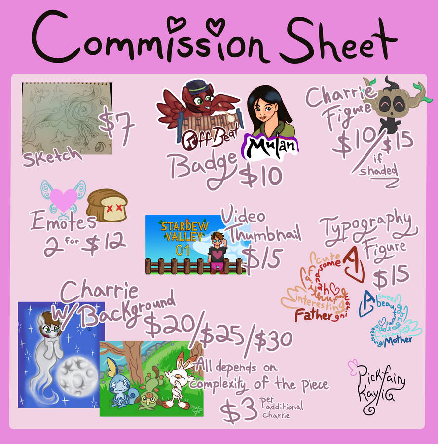 PF's Commission Sheet 2.0 [Read ToS 1st]