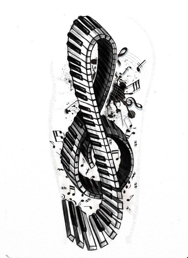 Key Art Design : Tattoo series violin piano key by stereoid on deviantart
