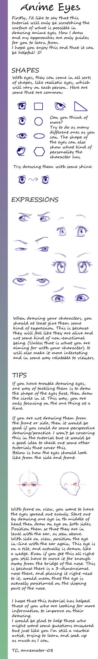 Tutorial on drawing anime eyes by annemator-08