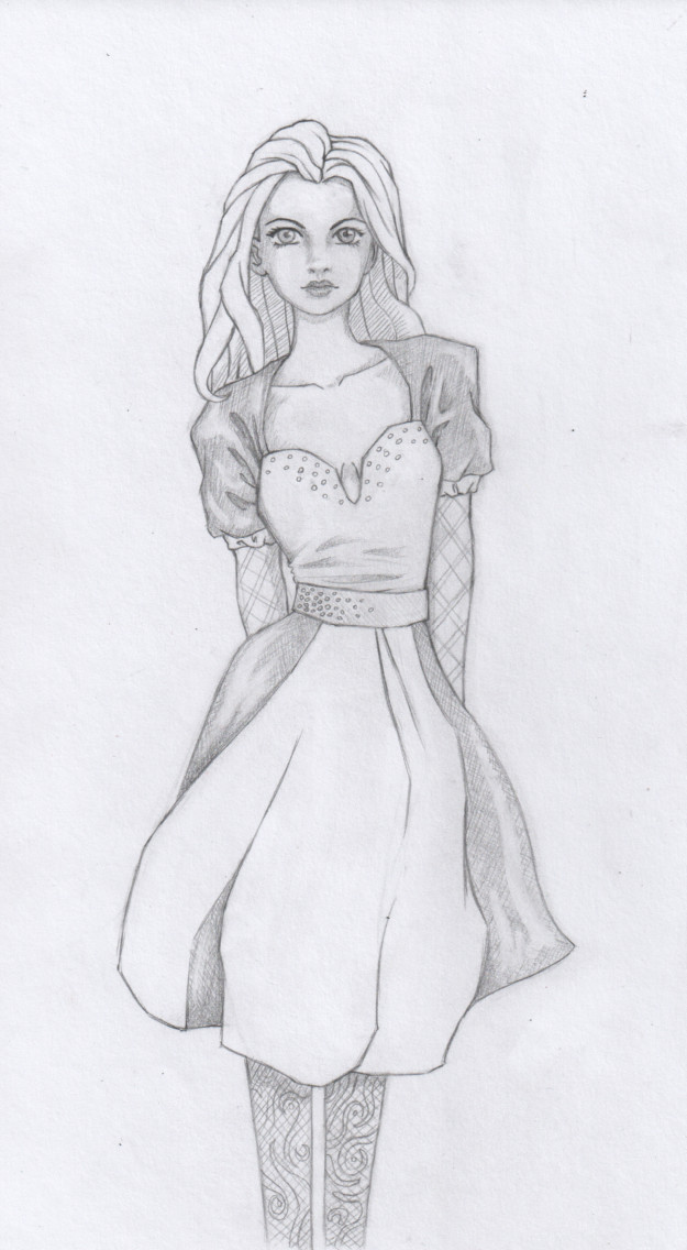 girl in dress pencil drawing by annemator 08 on deviantart