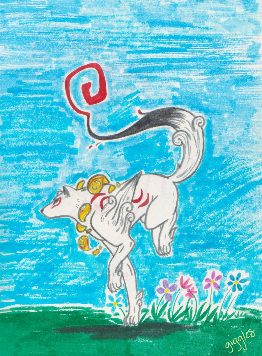 Okami in markers by gigglesalot