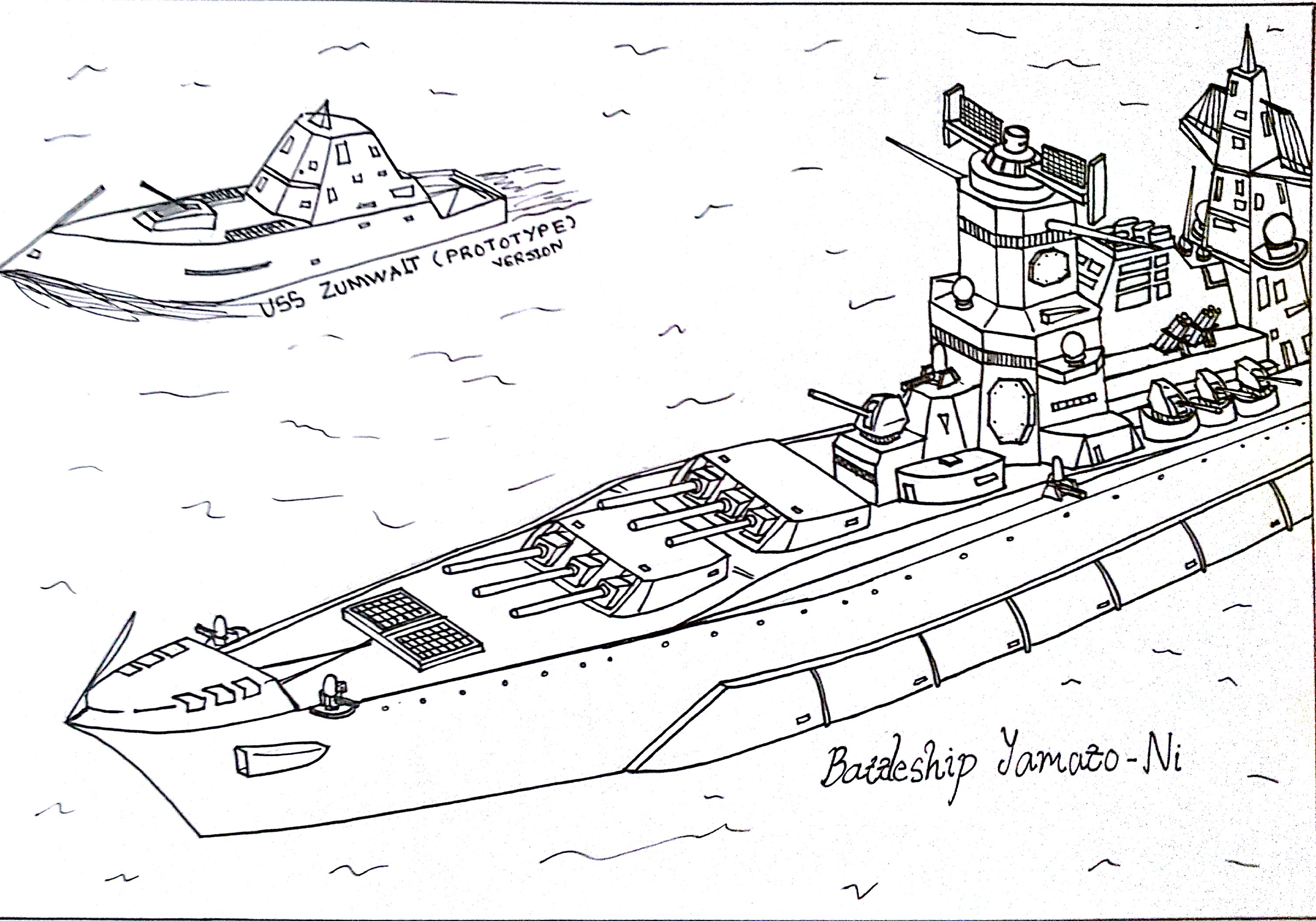 Battleship yamato ni by hummerh3 on deviantart for Battleship coloring pages
