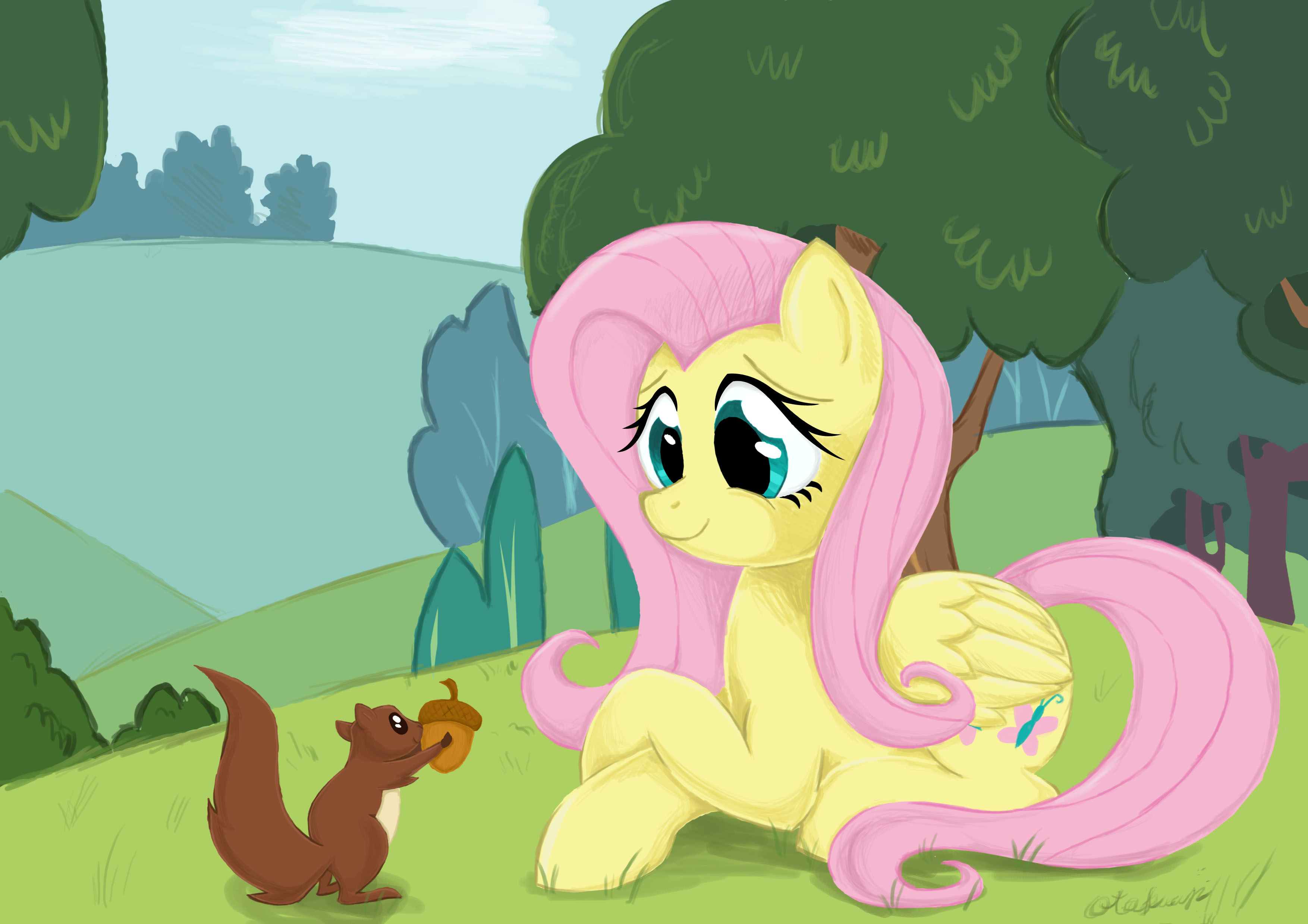 fluttershy and squirrel by otakuap