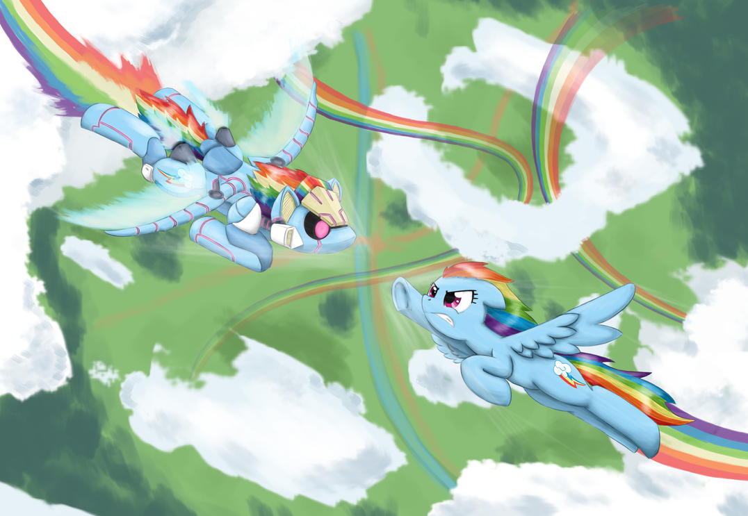Rainbow Dash VS Mecha Dash by otakuap