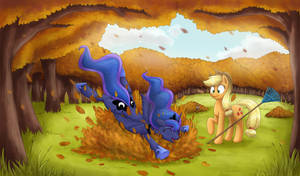 Piles of leaves are fun for every pony.