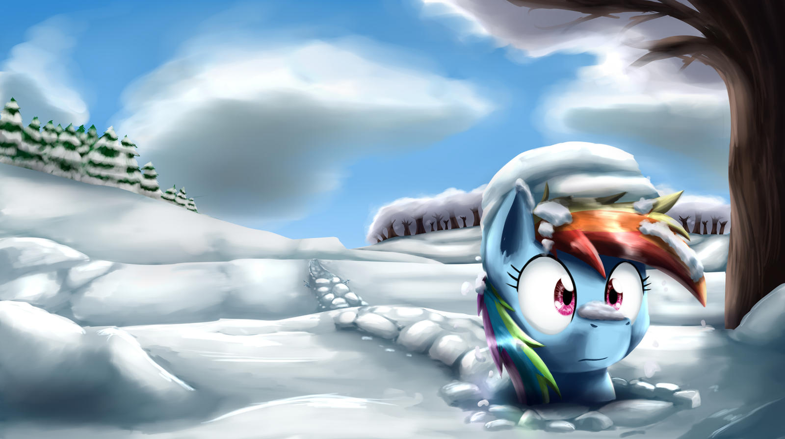 Dashie through the snow by otakuap