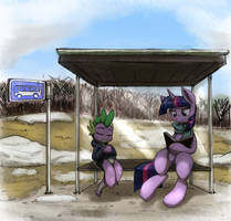 At the bus stop by otakuap