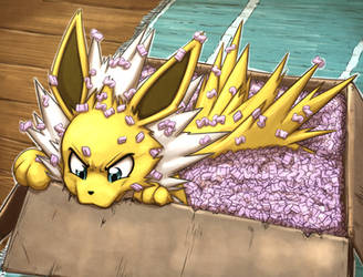 Jolteon in packing peanuts by otakuap