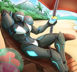 Dark Samus on the beach
