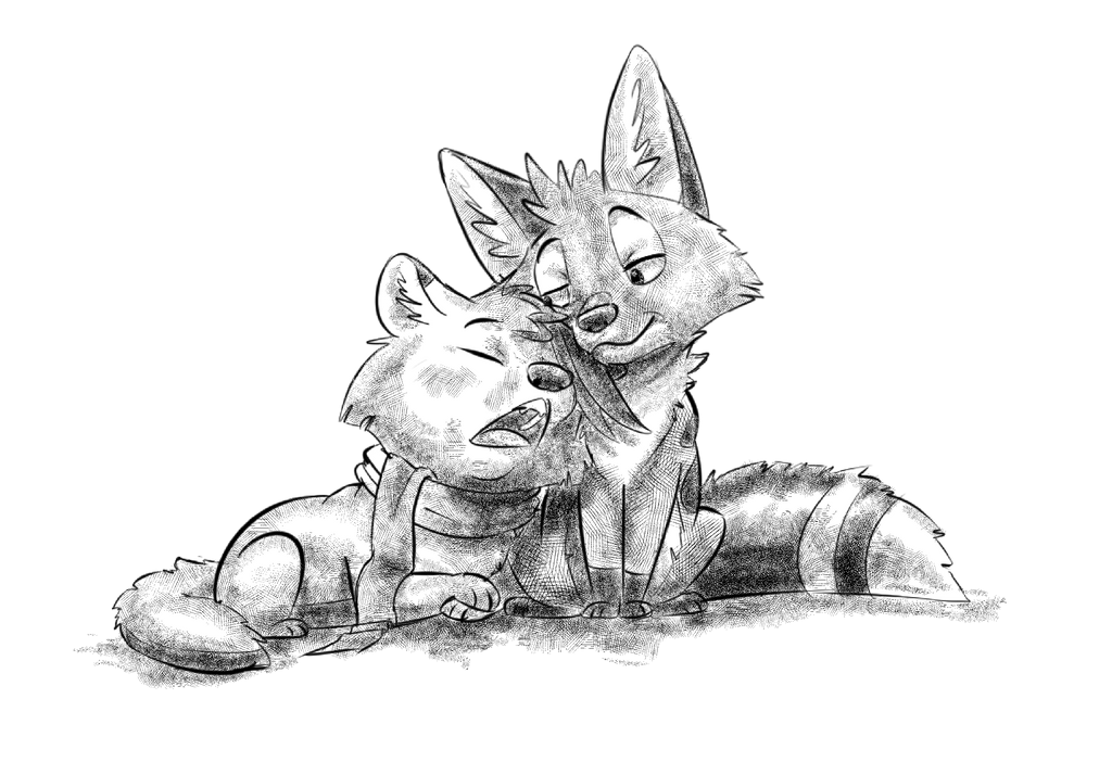 Crosshatch Cuddle by wanton-fox