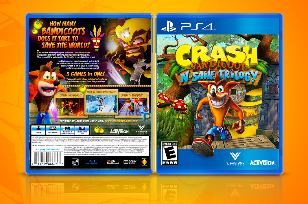 Crash N-Sane Trilogy Fan Cover Art (PS4) by Joao-Martins
