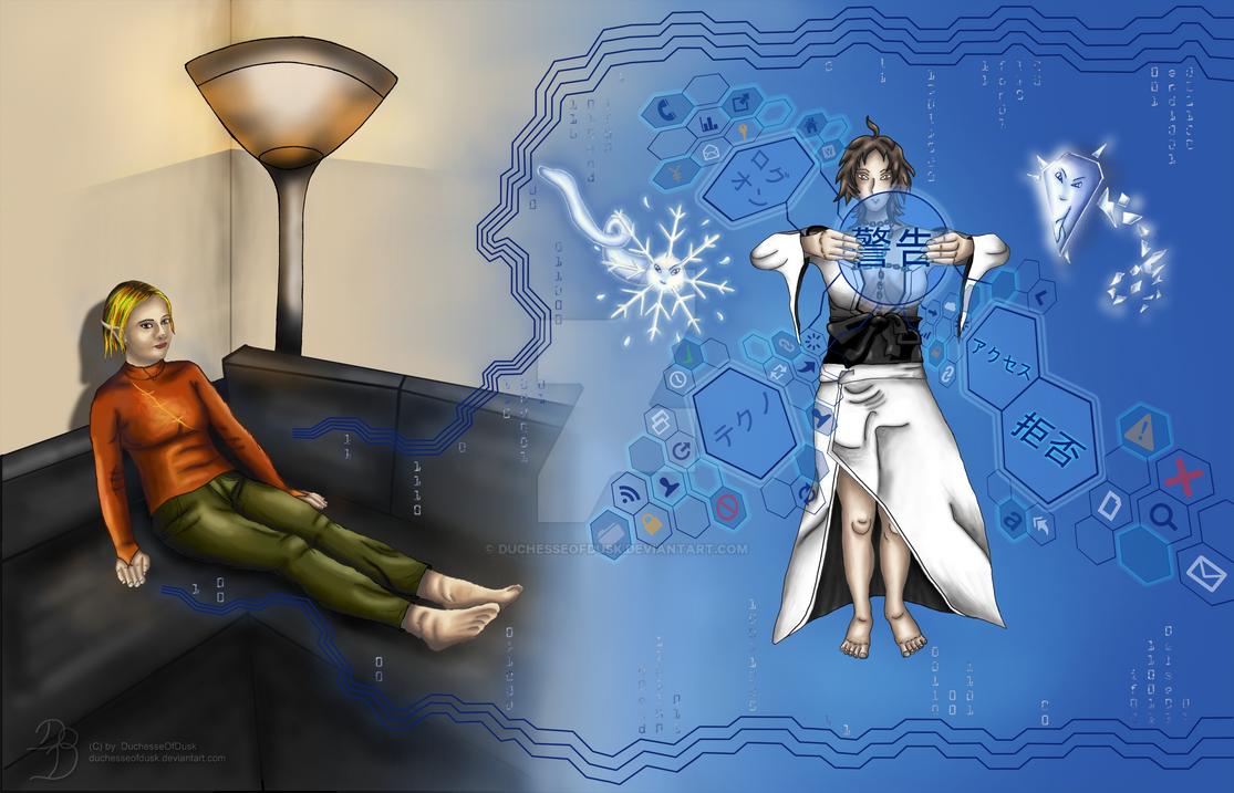 Akitsu hacking (day) by DuchesseOfDusk