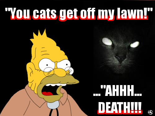 Abe Simpson VS Demon Cat by thepatster