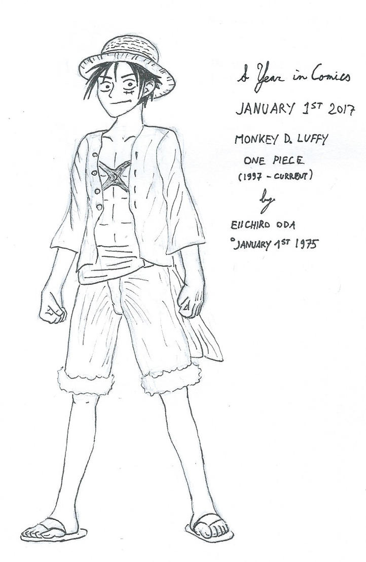 January 1st - Monkey D. Luffy by kanyiko