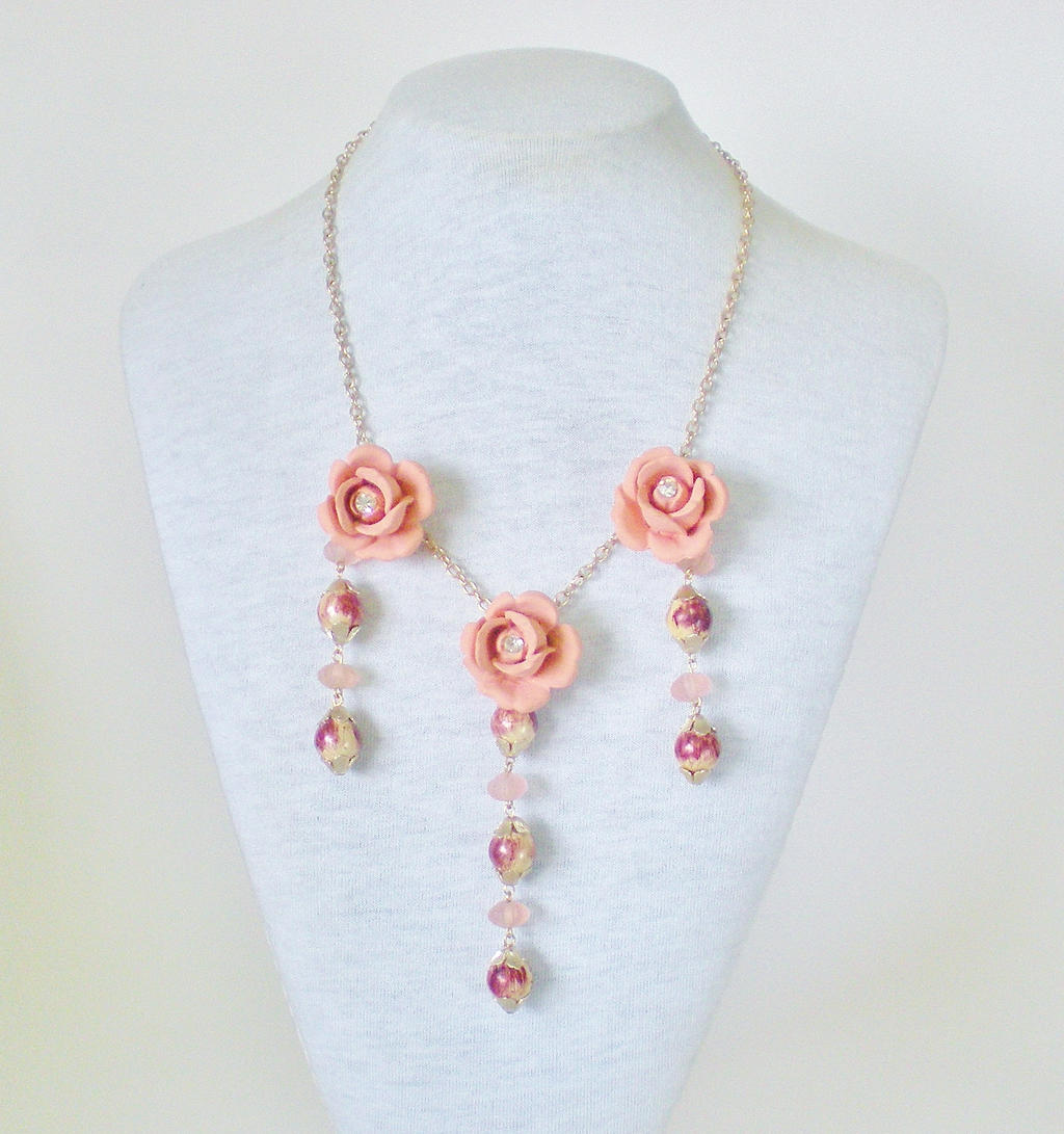 Garden Party Rose Necklace by RetroRevivalBoutique