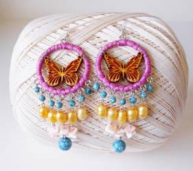 Butterfly Chandelier Bead Earrings