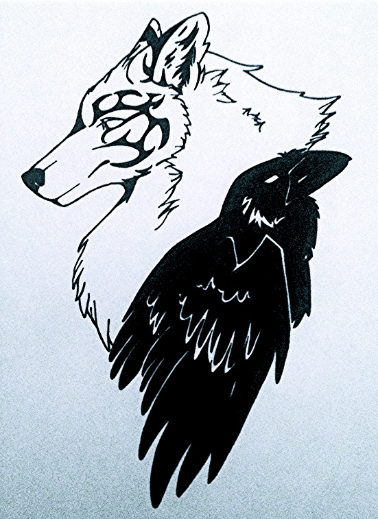 wolf and raven tattoo by w0lfrain souleater on deviantart. Black Bedroom Furniture Sets. Home Design Ideas