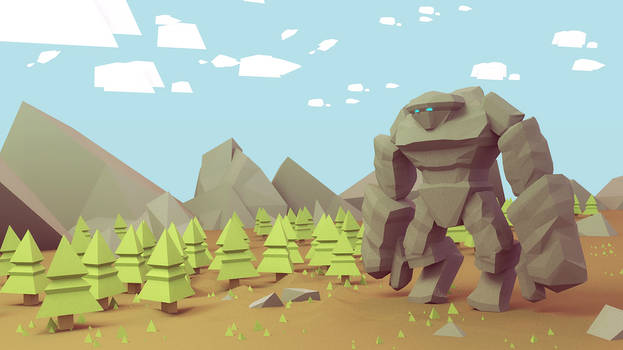 The Golem in the forest - low poly illustration