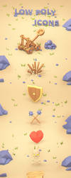 RPG icon set in low poly style -  game icons by brainchilds