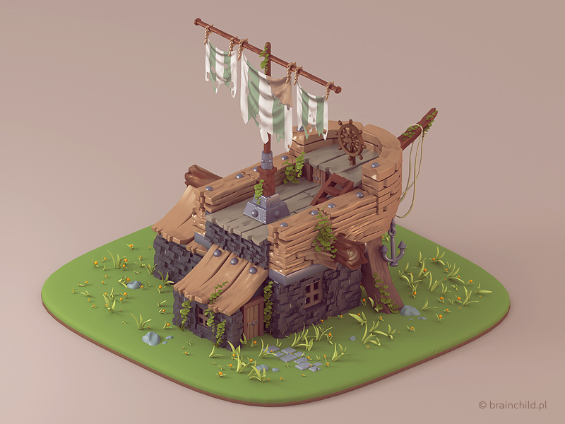 Ship building - Prerendered 3d Game model by brainchilds