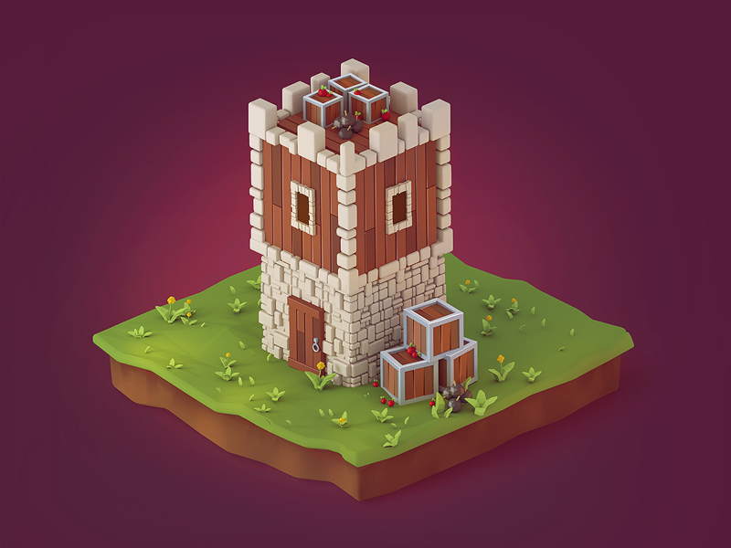 3d Pre-rendered Game Building Icon by brainchilds