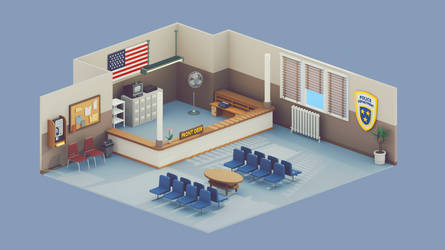 Low Poly Police Department Room | 3d | Retro by brainchilds