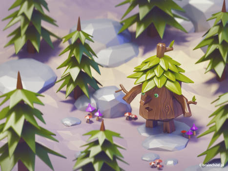 3d cartoon Monsters - Tree Monster | 3d high poly