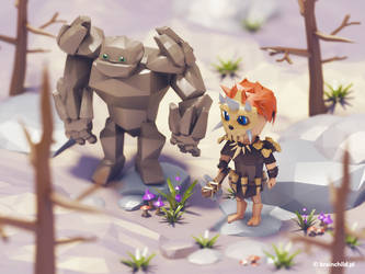 Stone Age bros | 3d art | Low poly by brainchilds