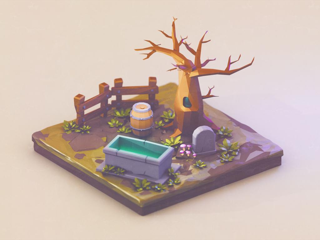 Tiny graveyard | Low Poly by brainchilds