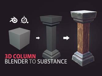 3d Dungeon Column in Blender 3d Substance Painter