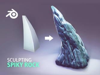 spiky rock sculpting process in blender