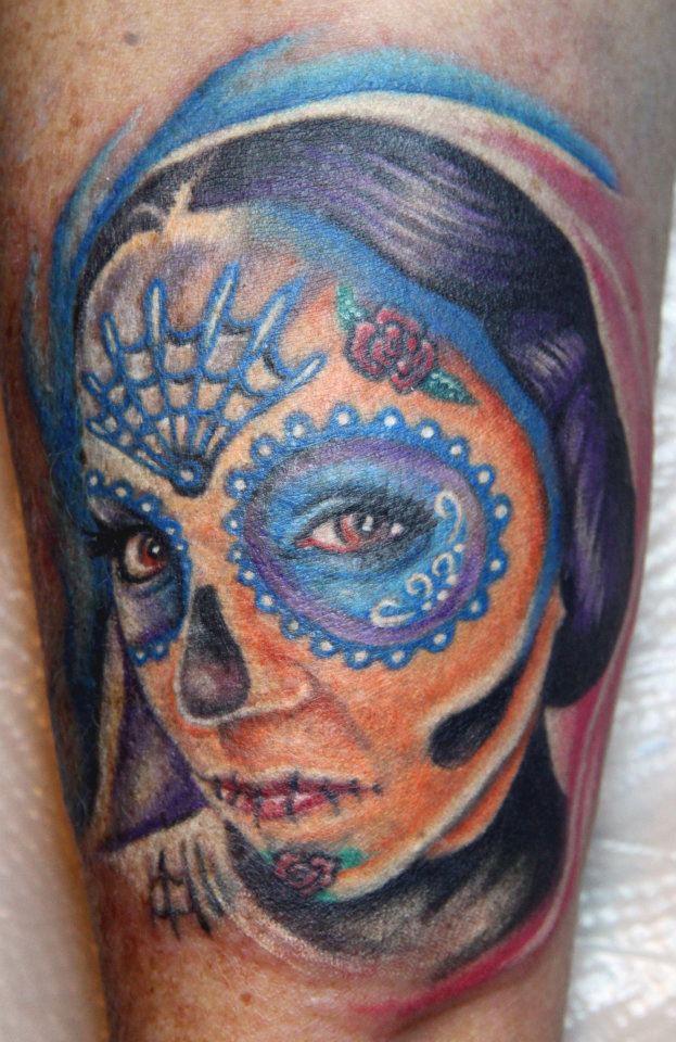 Dia de los muertos skull tattoo by biagiostattoogallery on for Dia de muertos tattoos