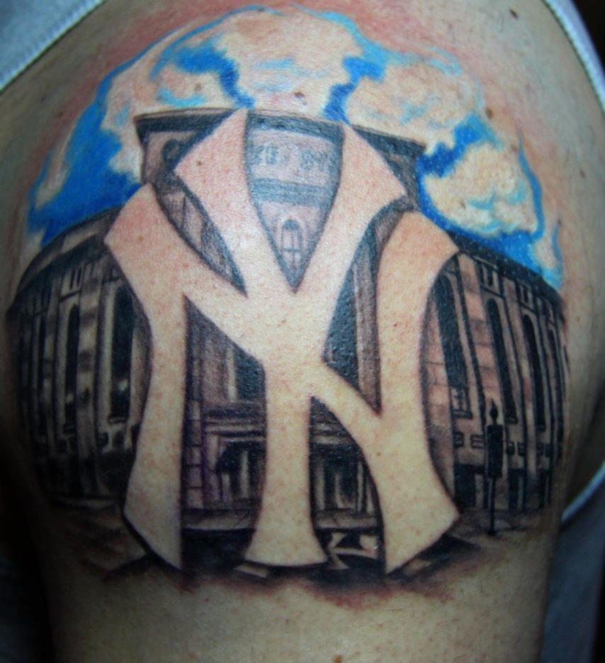 Ny yankees logo tattoo by biagiostattoogallery on deviantart for New york yankees tattoo