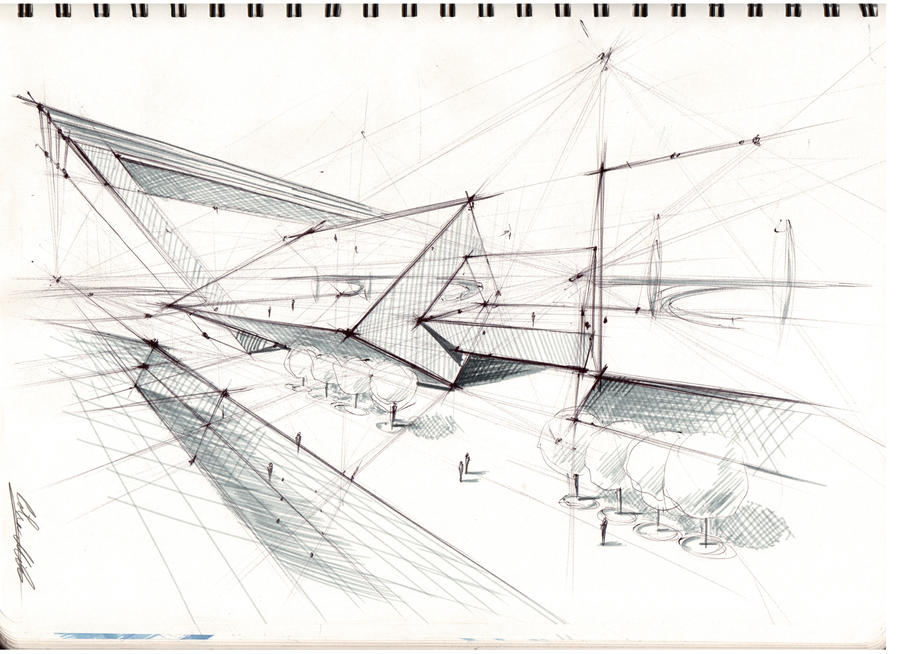 Architectural sketch 1 by mihaio on deviantart for How to draw architectural plans by hand