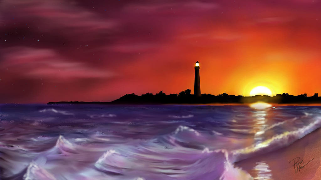 Cape May Lighthouse At Sunset Digital Painting By