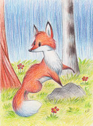 Fox in the spring forest by Bastet-mrr