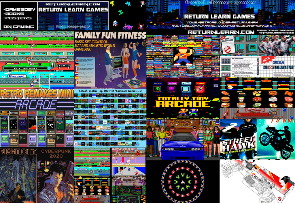 returnlearn.com games and ebooks poster by retroreloads
